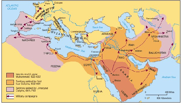 map of islamic conquest
